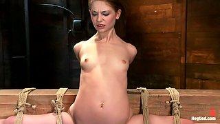 Girl next door, severely bound and helplessStripped, elbows bound, legs split, multi-orgasms!
