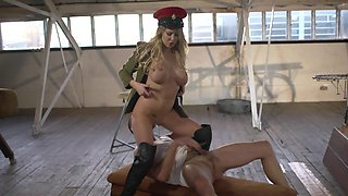 A sexy army girl is getting her busty body taken care off today