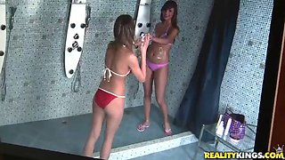 foursome sex with naughty teens in the showers