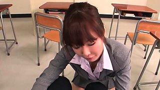 Sexy Japanese teacher blows a bunch of cocks