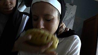 Bossy nuns gagging slut