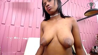 Kymmy squirts milk from her long nipples