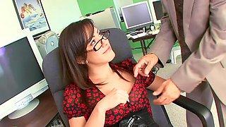 Adorable secretary fucking her boss