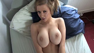 Who wouldn't want to cum all over my GF's massive melons