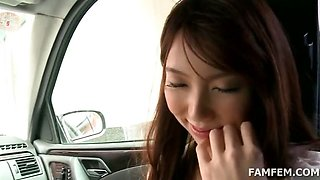Superb teen asian sucks horny dick in the car