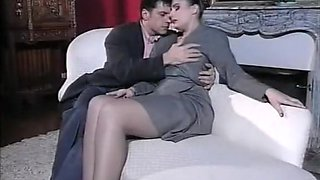 Vintage slut in high heels & stockings fucked on a couch