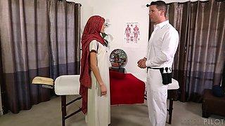 Skinny Muslim woman Chloe Amour gets nasty during full body massage