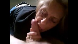 Granny sucking slowly dick and get cum on lips