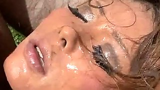 Asian gang bang cutie gets her face full of cum