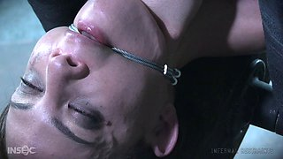 Tied up slave girl toyed by a freaky dude