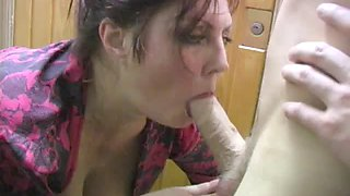 Drunk russian mom fucked in the stairs by son and friend