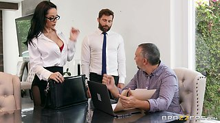 busty milf gets nicely fucked during office hours at work