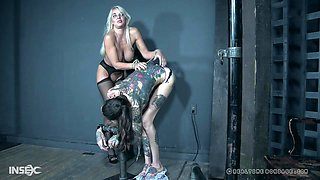 MILF London River and her teen friend forced to pee before abuse