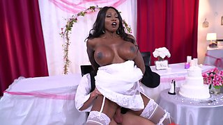 Dazzling Ebony bride and white guy have fun before her marriage
