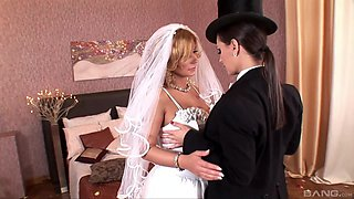 Handsome bride Dorothy Black gets penetrated by naughty Eve Angel