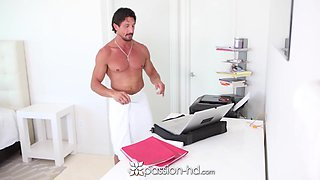 Sugar daddy bangs two lovely babes early in the morning