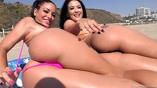 Hot brunette chicks Katrina Jade and Kissa Sins have fun fucking