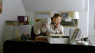 A hot French secretary with a pretty pussy fucks boss