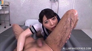 Asian slut's fucked silly by a guy after being oiled up