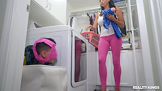 Missy Martinez gets horny from washing clothes and pleasures her friend