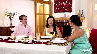 Ordinary couple share a dinner and a bed like lovers