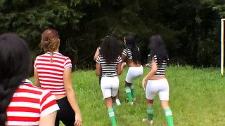 Horny shemales start playing soccer