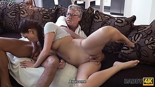 DADDY4K. Old man still in good shape to fuck his sons girlfriend on the couch