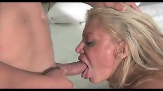 Filthy mature slut filled up by two junior guys