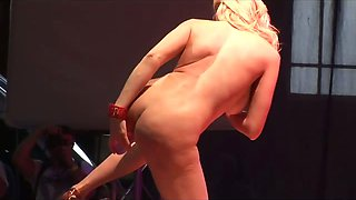 Scandal on stage horny stripper with big breasts toying