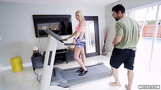 Fabulous babe Vanessa Cage is fucked hard right on а treadmill