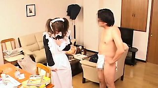 Subtitled surprised Japanese maid and CFNM gentleman