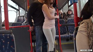 Horny busty girlie gave hr starving dawg deep throat blowjob right in bus