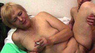 Mature Blonde Mama Sucks Young Cock While Smoking