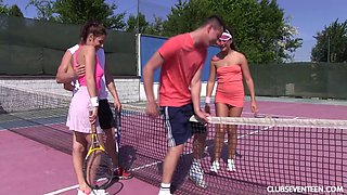 Hardcore foursome fucking on the tennis court with two sluts