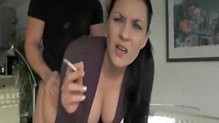 Fucked while smoking on a webcam