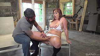 Cassie gets fucked hard by a mechanic and receives a cumshot