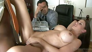 She swallows his huge dick, he fucks her dirty pussy hard!