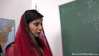 Arab teacher gets annihilated by four stiff black rods