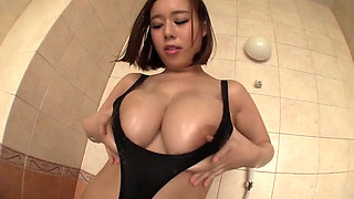 Thick Asian chic at pool getting naked and showing ass