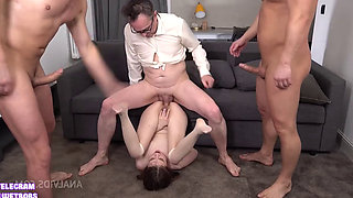 Naughty Blonde Schoolgirl Bella Punished Roughly by Two Studs