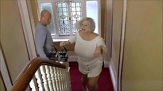 Grandma blows quivering fat cock
