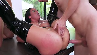 Angela Takes Two Cocks In Her Ass In Hardcore Gangbang