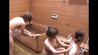 Three girls bath