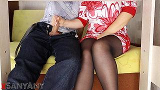 Hidden camera- Handjob under the table in pantyhose- SanyAny