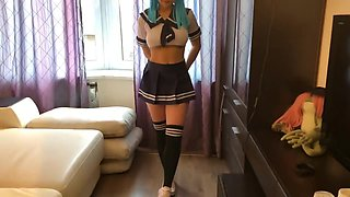 anime schoolgirl having fun after school with a dildo and a real dick