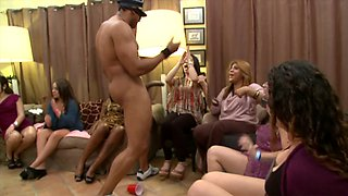 Big black stripper cock sucked by naughty party babes
