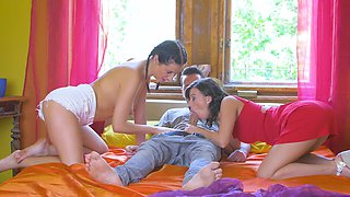 Lucky boy has dirty fun with teen cutie and her stepmom