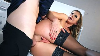 Coworker with a massive cock fucks her perfect British pussy