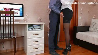 Young secretary blonde in high heels in sexy stockings gets fucked by husband until wife sees