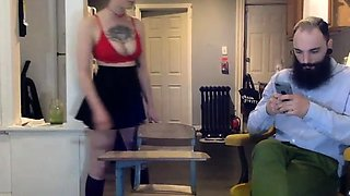 Nerdy amateur babe gets her sweet ass spanked hard on webcam